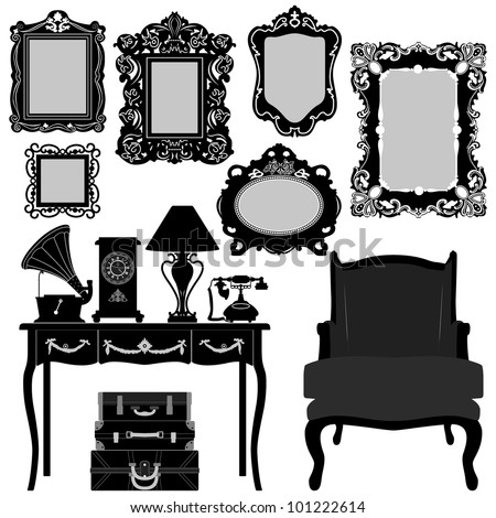 Antique Picture Frame Ornate Vintage Retro Museum Object Furniture - stock vector