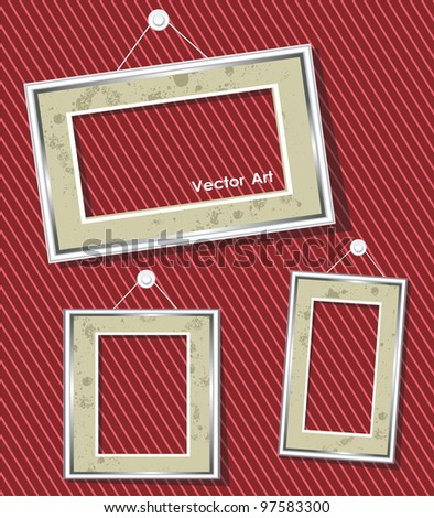 antique picture frames - stock vector