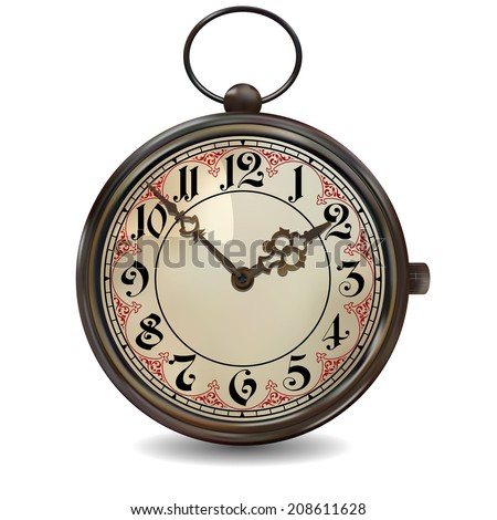 Antique pocket watch. Photorealistic vector illustration on white background. Gradient mesh - stock vector