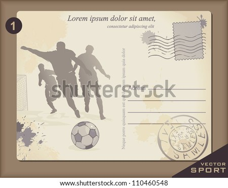Antique Postcard with Football player. Retro decor illustration. - stock vector