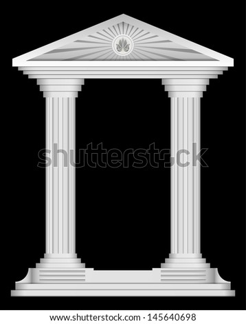 Antique roman temple frame for design