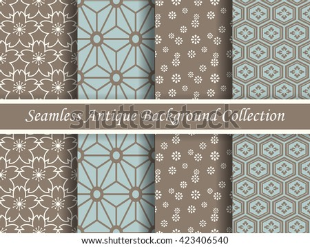 Antique seamless brown background collection_119