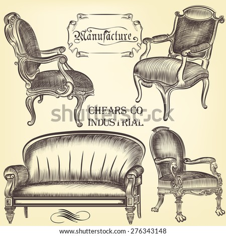 Antique set of vector hand drawn chairs  in vintage style - stock vector