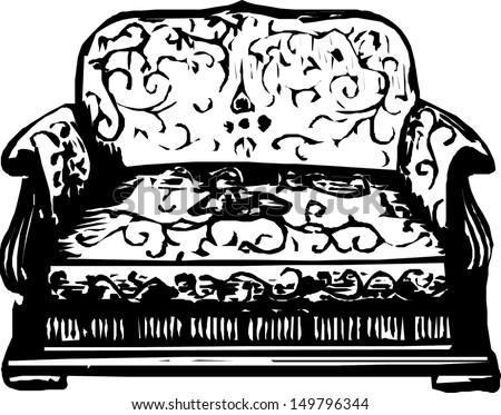 Antique sofa - stock vector