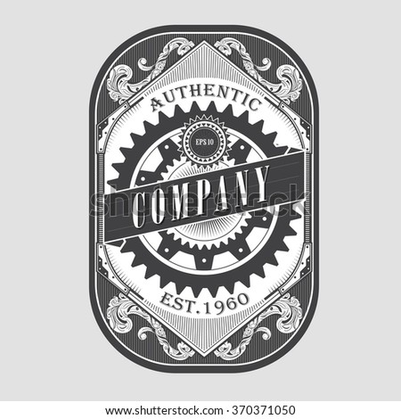 Antique steam punk label vintage frame retro border engraving vector illustration - stock vector