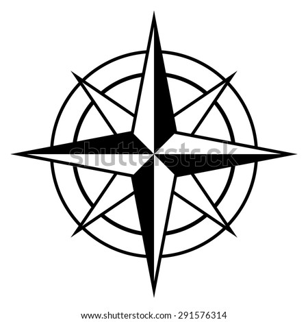Antique style compass rose icon in black and white for marine and nautical themes, vector design element - stock vector