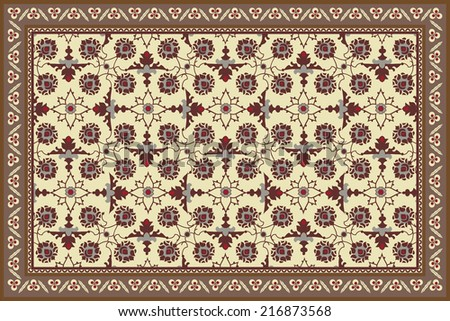 Antique style stylized floral rug - stock vector