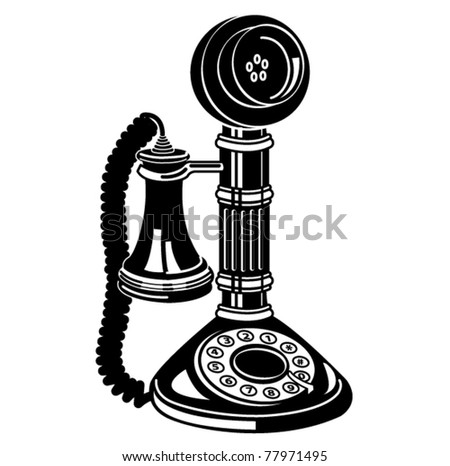 Antique telephone. - stock vector