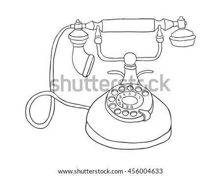 Antique telephone vector line illustration