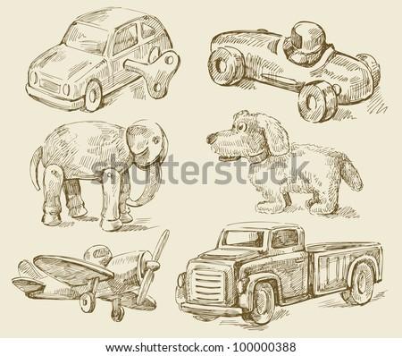 antique toys - stock vector