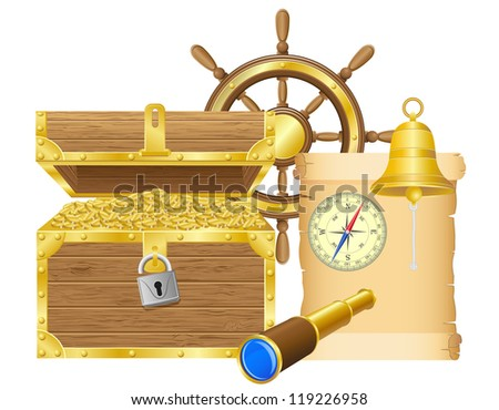 antique treasure chest vector illustration isolated on white background - stock vector