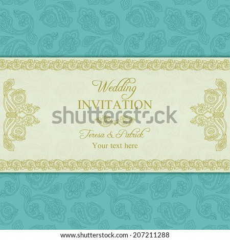 Antique turkish cucumber wedding invitation, beige and turquoise blue background - stock vector