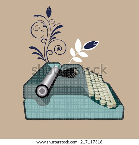 antique typewriter - stock vector