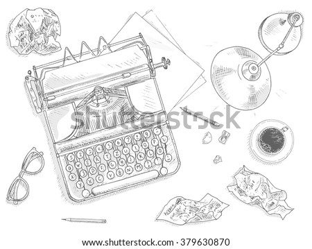 Antique typewriter background. Vintage typewriter machine. Journalist equipment top view illustration. Nostalgia sketch. Hand draw journalism concept with: crumpled paper, table lamp, glasses and tea  - stock vector