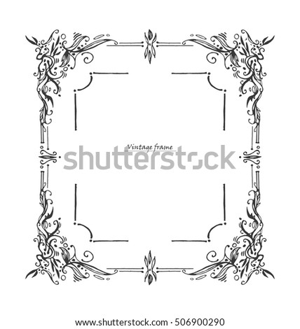 Antique Vintage Frame Graphic Layout Drawn Stock Vector HD (Royalty ...