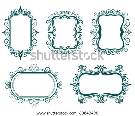 Antique vintage frames isolated on white for design. Jpeg version also available in gallery - stock vector