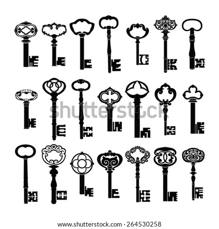 Antique Vintage Keys Vector Silhouette Set Collection Pack - stock vector