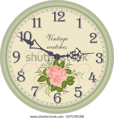 Antique wall clock. - stock vector