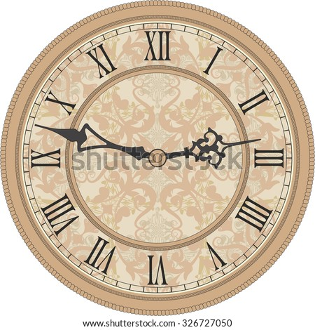 Antique wall clock. Vector image of a round, old clock with Roman numerals. - stock vector