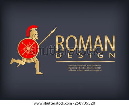 Antique warrior run with spear and shield logo template. Vector illustration - stock vector