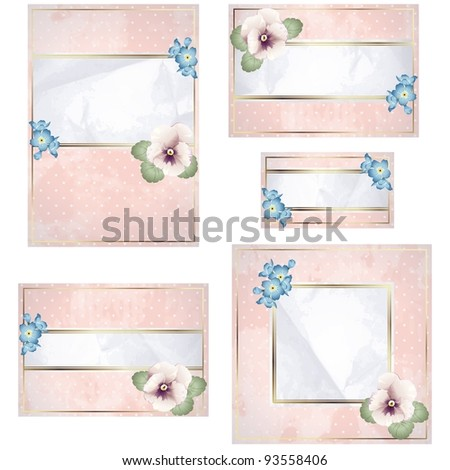 Antique white and pink wedding banner with flowers (eps10); jpg version also available - stock vector