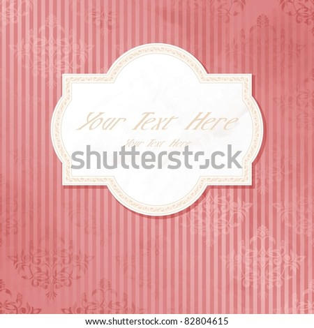 Antique white on pink wedding label (eps10); jpg version also available - stock vector