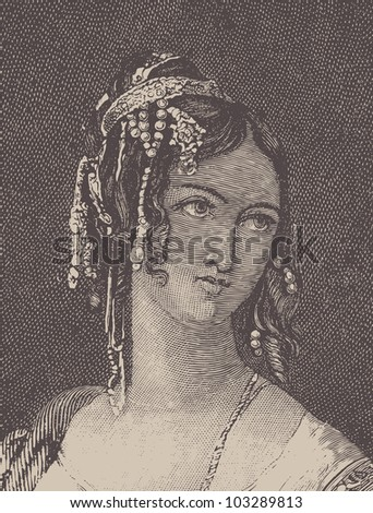 "Antique woman. Illustration from the book of Mihailov  ""Lord Byron"". Dobrodeev printing house, St. Peterburg, 1888."