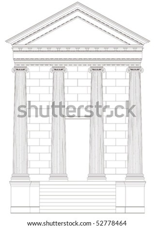 antiquities greek temple,vector - stock vector