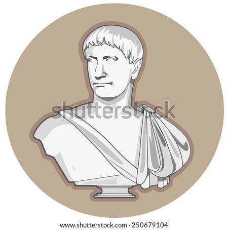 Antiquity Roman Sculpture. Roman Sculpture Painted. Roman Sculpture Man. Roman Sculpture Head. Roman Sculpture For Sale. Roman Sculpture History. Roman Sculpture Vector Picture. - stock vector