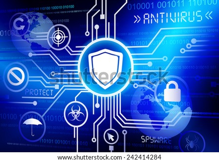 Antivirus shield vector. - stock vector