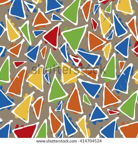 Antonio Gaudi mosaic. Triangle hand drawn vector pattern. . Antonio Gaudi pattern. Barcelona pattern - stock vector