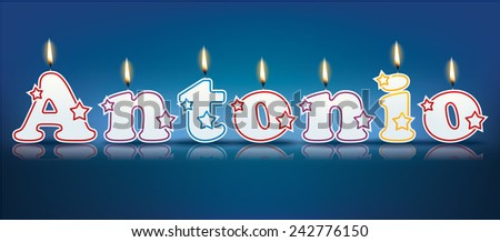 ANTONIO written with burning candles - vector illustration