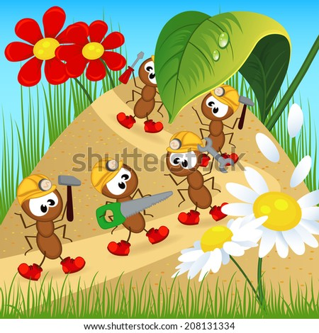 ants builders with tools - vector illustration, eps - stock vector
