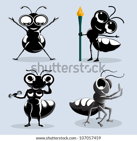 ants cartoon in various action isolated on blue
