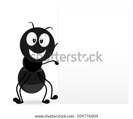 ants show a blank sign - stock vector