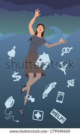 Anxiety disorder. Woman, fully dressed, drowning in a stormy sea, filled with symbols of her worries - stock vector
