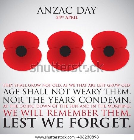 ANZAC (Australia New Zealand Army Corps) Day card in vector format. - stock vector