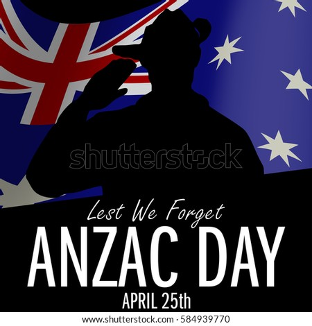 ANZAC day banner or poster featuring a waving Australian flag. The Australian soldier is saluting the correct way for a solider from Australia.