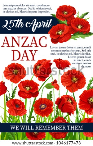Anzac day poppy flowers design poster stock vector 1046177473 anzac day poppy flowers design poster for lest we forget of australia and new zealand war mightylinksfo