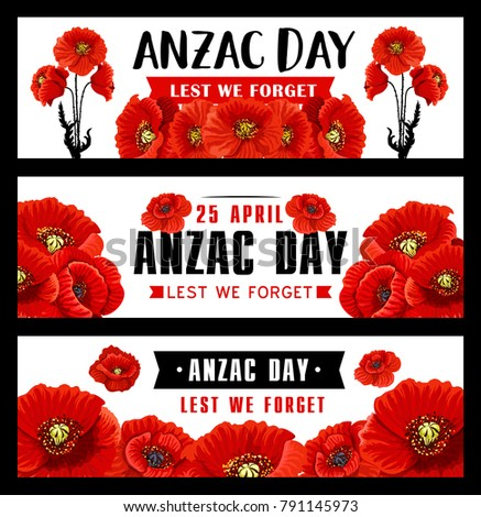 Anzac Remembrance Day Banner Red Poppy Stock Vector 791145973