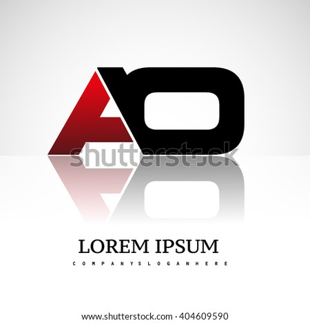 AO company linked letter logo icon red and black - stock vector
