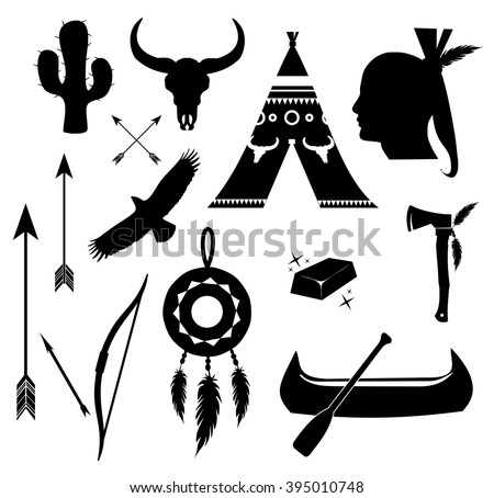 Apache, indian icon set vector  - stock vector