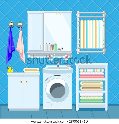 Apartment Bathroom Interior Decorating template with sink, washing machine and shelves. - stock vector