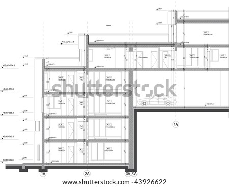 Apartment Building Drawing apartment building drawing section stock vector 43926622