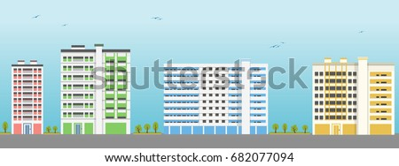 Colorful Apartment Building Exteriors Vector Illustration Stock