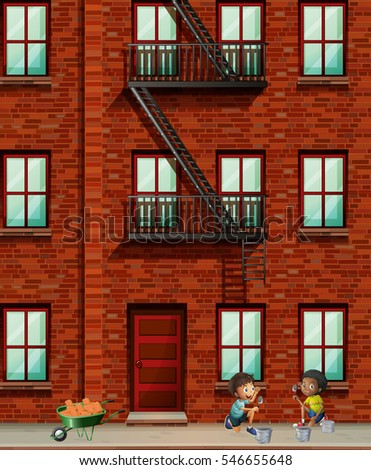 Fire Escape On Apartment Wall Illustration Stock Vector 312350591 ...