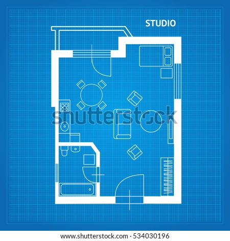 Apartment floor line plan studio blueprint stock vector 534030196 apartment floor line plan studio blueprint with furniture vector illustration malvernweather Choice Image