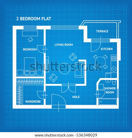 Apartment floor plan blueprint furniture top stock vector apartment floor plan blueprint with furniture top view vector illustration malvernweather Image collections