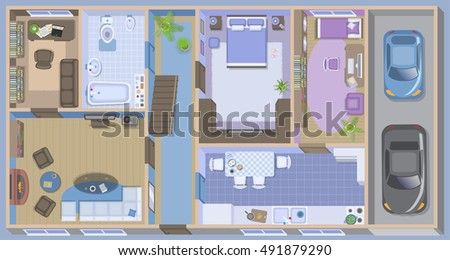 Apartment Floor Plan Top View furnished House Stock Vector