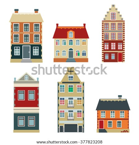 Apartment house icons and symbols set. Set of flat color cartoon variety of old buildings in Europe and America. Vector illustration flat - stock vector